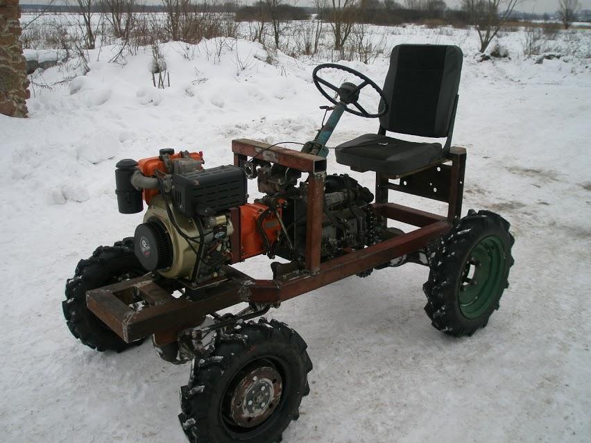Полноприводный трактор из мотоблока