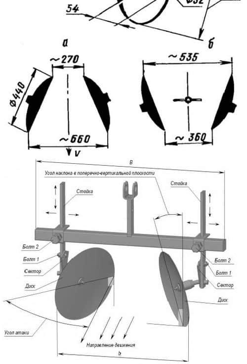 Дисковый плуг для мотоблока: чертежи