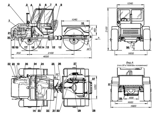 Чертеж трактора на базе ГАЗ