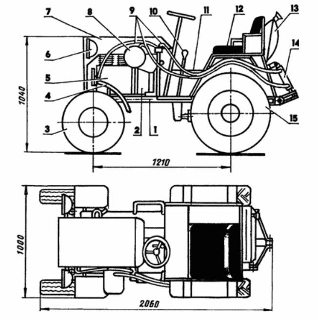 Чертеж минитрактора с двигателем Ока